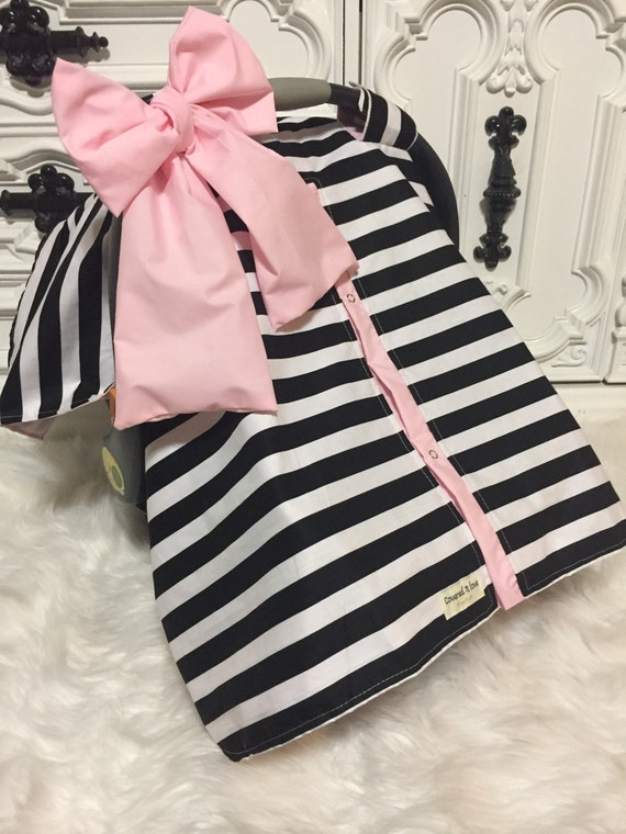 Black and White stripe car seat canopy With light pink accesnts and JUMBO bow