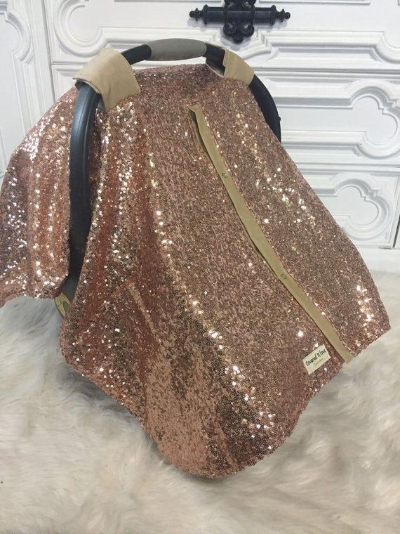 Rose Gold / car seat canopy / nursing cover / carseat cover / carseat canopy / ooak / sequin / infant car seat cover / gold / sparkle
