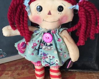 Primitive Raggedy Annie - story book  - cinderella  - ragdoll