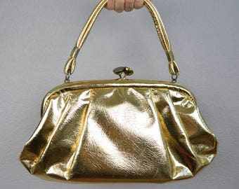 60s Gold Lame Purse Top Handle Bag With Large Metal Clasp Shimmery Metallic Purse Medium Size 60s Handbag Epsteam