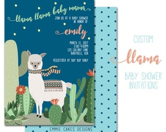 Llama Baby Shower Invitation, Custom Party Invite, Baby Boy, Girl, Personalized 5 x 7 Party Invitation,paper and party supplies,cards