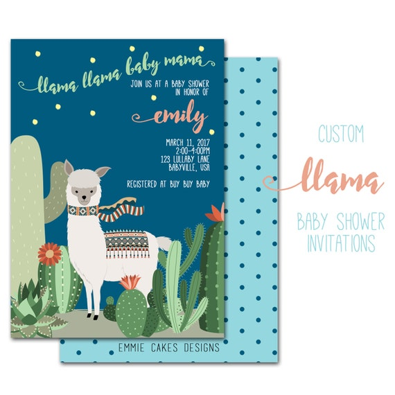 Llama Baby Shower Invitation Custom Party Invite Baby Boy Girl