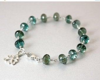 CHRISTMAS SALE Silver Teal Quartz Bracelet - Clover Charm Bracelet
