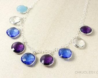 Silver Multi-Gemstone Bib Necklace - Blue Quartz, Amethyst Quartz, Crystal - Statement Necklace