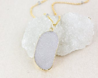 50% OFF Gold Free Form Druzy Necklace - Blue Labradorite - Layering Necklace