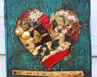 Lovely Valentine Recycled Mixed Media Heart