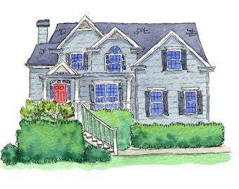 Custom Watercolor: House landscape - size 5x7