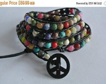 25% OFF SALE World Peace Gemstone Beaded Leather Wrap Bracelet