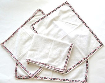 Table Linen - Vintage - Placemats - Napkins - Embroidered - Ivory - Red and Black - Retro - Holiday - Recycled Eco Friendly
