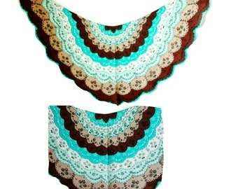 Silk Scarf - 1950s - Shawl - Vintage - Japan - Retro - Floral - Turquoise - Browns - Eyelet Lace Pattern  - Scallops - Recycled