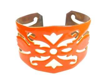 Cuff - Bracelet - Statement - Ornate - Bling - Pop of Color - Orange - Saffron - Enamel - Brass - Wearable Art - Cut Outs -