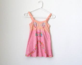 Girls Sundress - Strappy - Angels - Flowers - Pink - Peach - Roses - Sparkles - Soft - Size 3 - Girly - Summer - Boho - Festive - Recycle