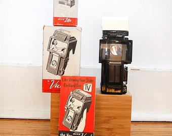 Vintage Slide Viewer Mico Vue Handheld Analog Photography 1950s with Mico Light Accessory.