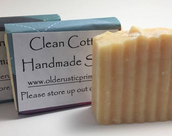 Clean Cotton All Natural Handmade Soap---LARGE BAR!  Super Fresh Scent!  Gentle!