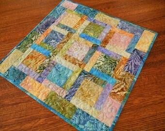 Small Table Topper, Quilted Batik Table Square, Square Table Runner, Small  Tablecloth,