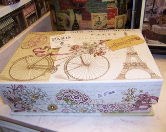 Large PARIS Eiffel Tower bike keepsake box,storage box,Paris theme,Paris decor,Paris party decor,Paris bedroom decor,Wedding card box
