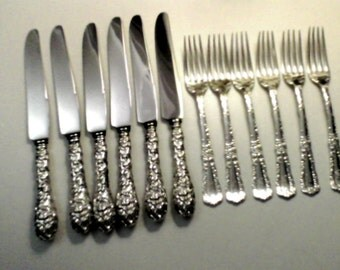 Vintage Sterling Baltimore Rose Knives, Schofield.  Delicate Forks Marked M Sterling, Gorgeous