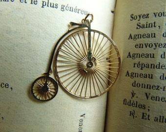 Vintage Big Wheel Bicycle Necklace Pendant Italy