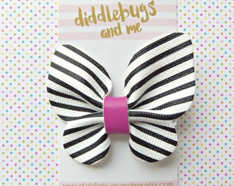 Stripe Leather Butterfly Hair Clip, Black And White Butterfly Hair Clip, Girls Butterfly Hair Clip, Spring Hair Clips, Butterfly Hair Clip,
