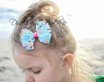 Mermaids Hair Bow, Beach Hair Bow, Girls Hair Bow, Party Favors, Birthday Favors, Summer Hair Bow, Hair Bows For Girls, Toddler Bows