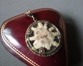 Antique Bavarian Edelweiss Flower Pendant Pressed Flower Souvenir