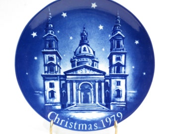Saint Stephen Basilica Christmas 1979 Retsch Collector Plate Vintage 1970s Mongomery Ward Exclusive Collection Plate