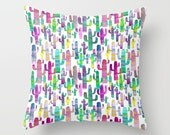 Southwestern Decor Cactus Pillow Cover, Colorful Throw Pillow, Gifts for Gardeners, Watercolor Pillow, Gift for Plant Lover, Arizona Room
