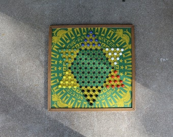 Vintage Chinese Checkers King Fu Wooden Complete Marbles Included Game