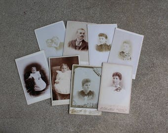 Vintage Antique Photographs Lot 8 Cabinet Cards Black White Sepia Altered Art Mixed Media Instant Collection 1900s