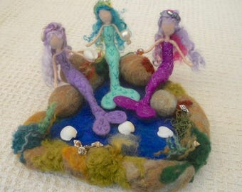 felted mermaid, Waldorf, mermaid rock pool, play mat, play scape, play school, nursery school, kindergarten, nature table, mermaid sculpture
