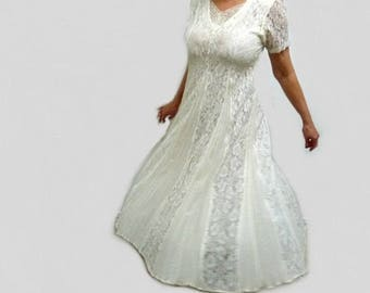 80s White Lace Dress by Nostalgia Party Evening dress S/M