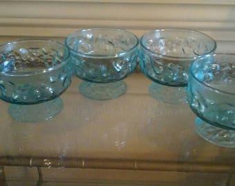 Set of 4 vintage blue glass  dessert bowls compote icecream bowls