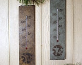 Natural Stone Thermometer - Hummingbird Leaves on slate