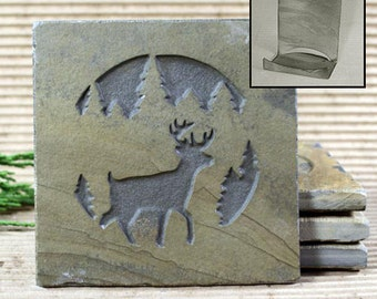 Etched Natural Stone Coaster Set with Holder - Deer in Pine trees on Buff Slate