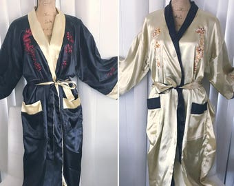 Gorgeous Vintage Asian Silk Embroidered Dragon Robe -- Reversible -- Size L