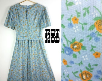 60s does the 40s! Vintage Pastel Blue Dress with Golden Yellow Flowers - Casual Day Dress!