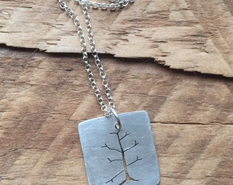 Sterling silver handcut tree charm necklace