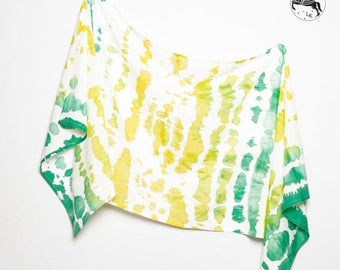 ON SALE 15 OFF Unique Hand Painted Tie Dye Silk Cotton Summer Sarong Green Yellow White Colours  Scarf Wrap  Colorfull Beach Holidays