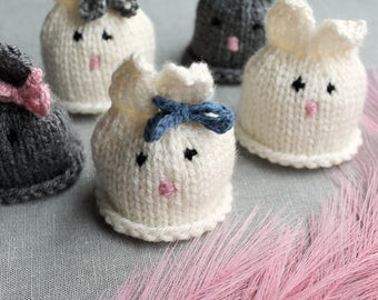 Easter Rabbit Knitted Eggwarmers in White or Grey
