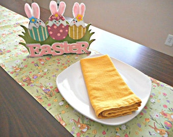 Easter Table Runner Bunnies Eggs Floral Green Yellow Pink Purple Reversible