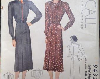 Vintage 30s Dress Pattern 38 bust Mc Call 9432 Zip Front McCalls 1930s