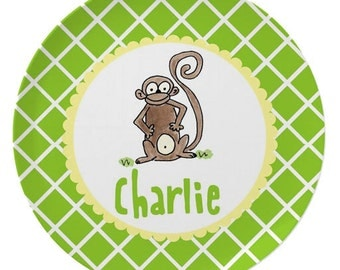 Personalized Melamine Plate for Kids / Monkey Plate Bowl Placemat