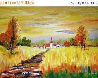 Little Village -   Original Landscape Acrylic Painting