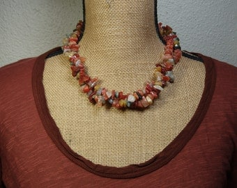 Natural Indian Agate 2-Strand Gemstone Chips, 925 Silver Necklace