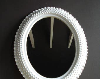 Fairest of Them All  - Large Vintage Oval Mirror with Hobnail Frame - Oval Vanity Mirror - Faux Milkglass Mirror