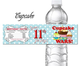Cupcake Wars Personalized Water Bottle Label - Coordinates with all Themes and Patterns in Shop