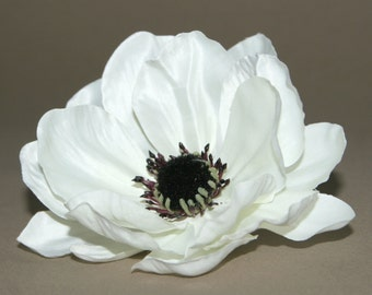 Creamy White Satin Look Anemone - Artificial Flowers