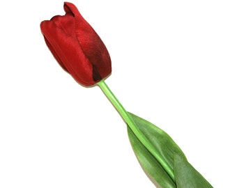 Red Long Stem Tulip - PRE-ORDER -Artificial Flowers, Silk Flowers