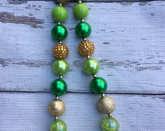 St Patricks day green and gold Chunky Bead Necklace Chunky Necklace Bubblegum Necklace green and gold glitter necklace