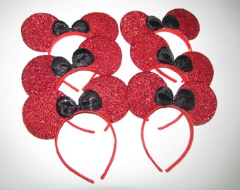 10 minnie mickey mouse inspired party favor headband bow ears disneyland birthday DIY hair accessoriered black Valentines black bow